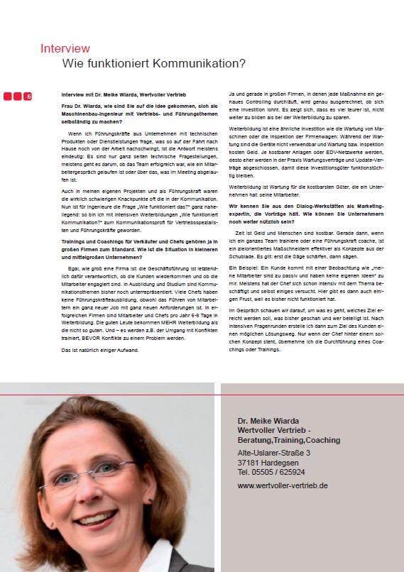 Interview Wiarda, Wertvoller Vertrieb, in WIN Dienstleistungsoffensive durch WRG Göttingen